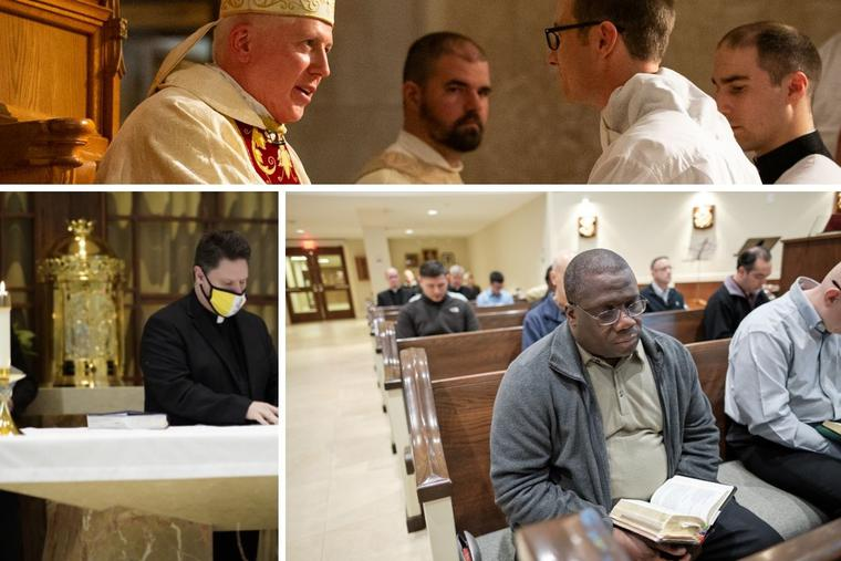 Clockwise from top: Joseph Mominee is ordained a deacon by Bishop Daniel Thomas of Toledo, Ohio, in 2020; Deacon Mominee will be ordained a priest June 26. Deacon Guy Dormevil prays in the chapel at St. John XXIII Seminary; Deacon Dormevil will be ordained a priest on June 12. And Deacon Michael Lombardi makes his 'Profession of Faith' and 'Oath of Fidelity'; Deacon Lombardi will be ordained a priest June 19.