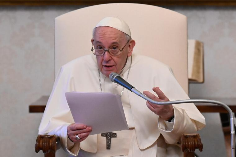 Pope Francis holds his weekly General Audience in the Library of the Vatican's Apostolic Palace on April 28th, 2021.
