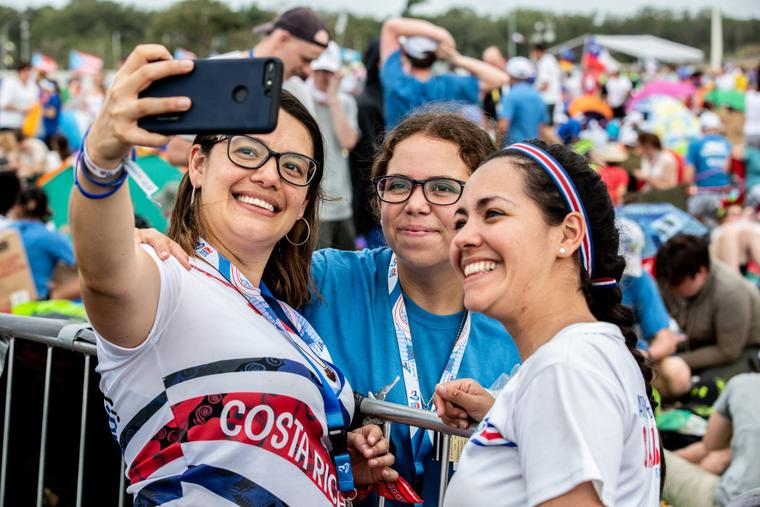 Pilgrims await Pope Francis' arrival in Panama City's Campo San Juan Pablo II for the Vigil ceremony at World Youth Day on Jan. 26, 2019.
