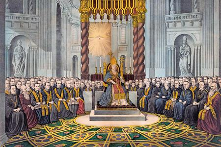 Pope Pius IX (center, seated on throne) convenes the First Vatican Council on Dec. 8, 1869.