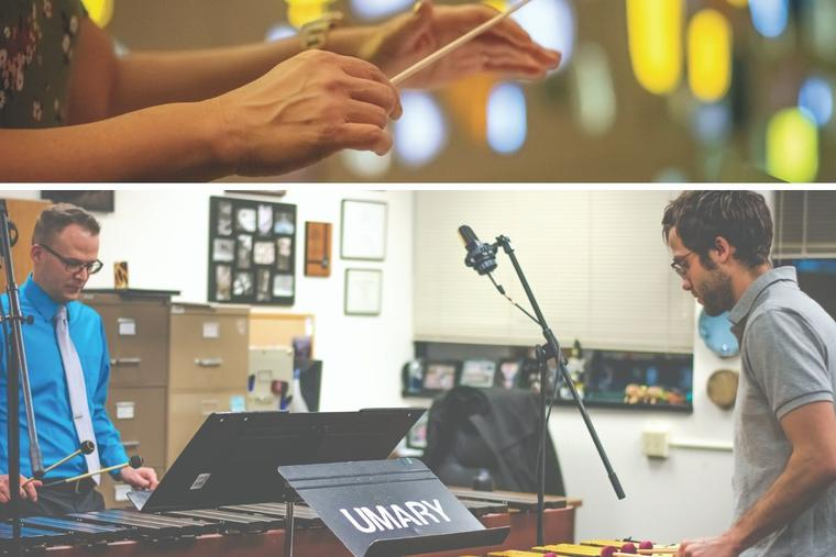 Top, in the new program, teachers work on their conducting skills. Bottom, a student and faculty member practice a percussion piece together.