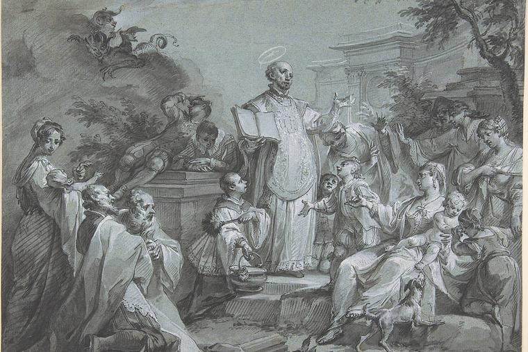 St. Ignatius of Loyola is shown preaching in this Johann Wolfgang Baumgartner painting.