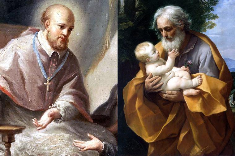 "LEFT: Francisco Bayeu y Subías, ""St. Francis de Sales,"" 18th century. RIGHT: Guido Reni, ""St. Joseph with the Infant Jesus,"" c. 1620."