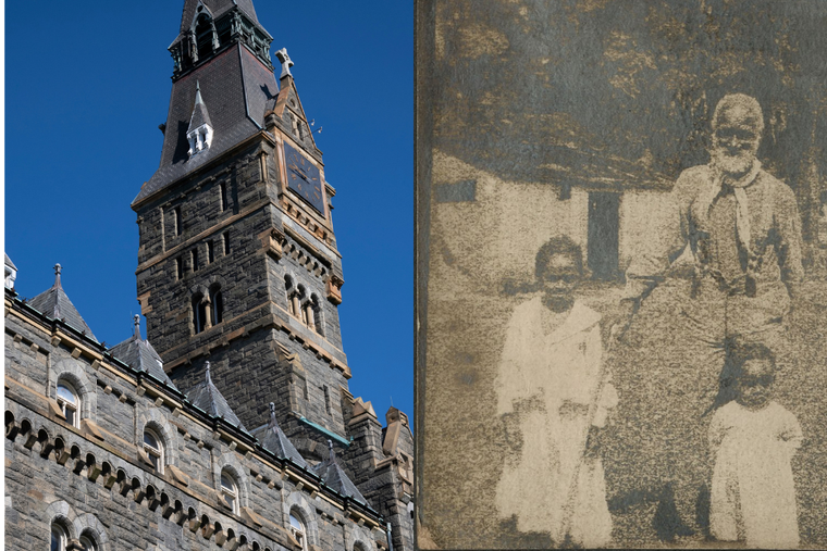 Georgetown University (L), Frank Campbell, one of the slaves sold in 1838, pictured c.1900 (R).
