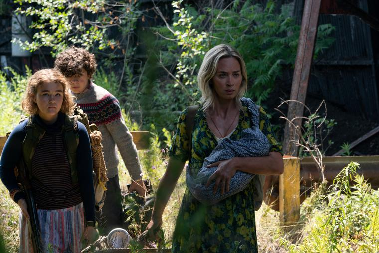L-R: Regan (Millicent Simmonds), Marcus (Noah Jupe) and Evelyn (Emily Blunt) brave the unknown in 'A Quiet Place Part II.'