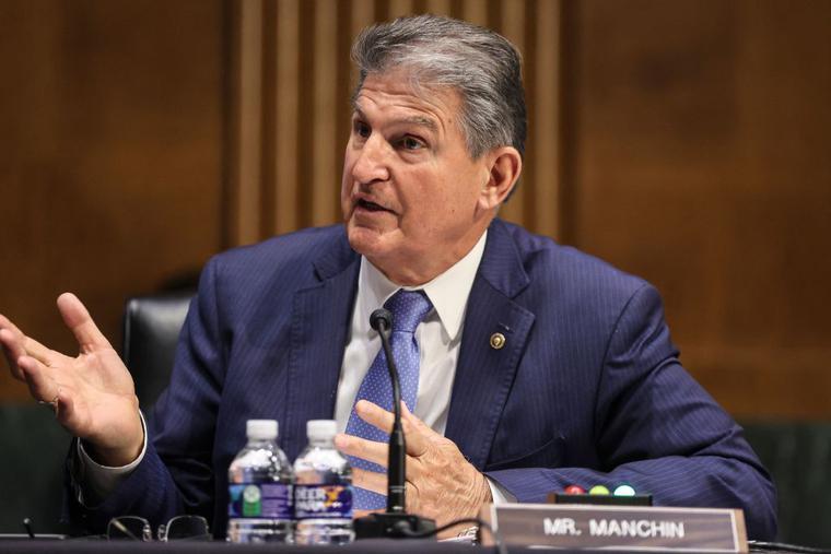 Sen. Joe Manchin, D-W.Va., speaks during the Senate Appropriations Committee hearing in the Dirksen Senate Office Building on Capitol Hill on April 20. President Joe Biden's 2022 budget request will soon be released.
