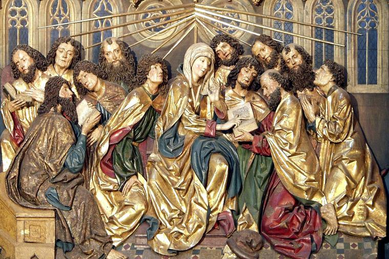 """Wit Stolsz, """"Coming of the Holy Spirit,"""" Altarpiece at St. Mary's Church, Krakow, Poland"""