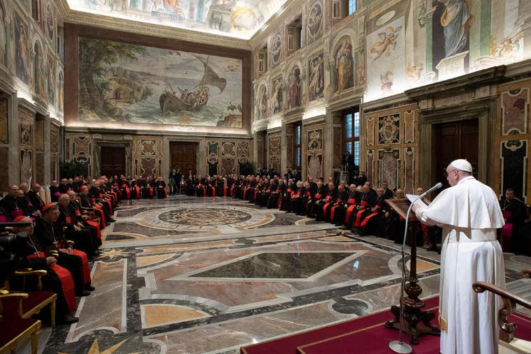December 21, 2019: Pope Francis received in audience the Cardinals and the Superiors of the Roman Curia for Christmas greetings, Dec. 21, 2019.