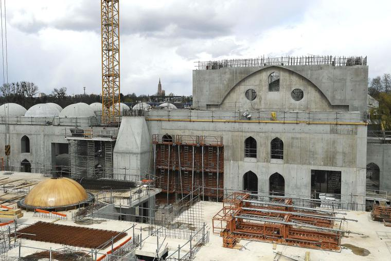 This general view taken on April 6, 2021, shows the construction site of The Eyyub Sultan Mosque in Strasbourg, eastern France, after the city council of Strasbourg approved in principle at least 2,5 million euros in public funding for the construction led by the Milli Gorus (CIMG) association.