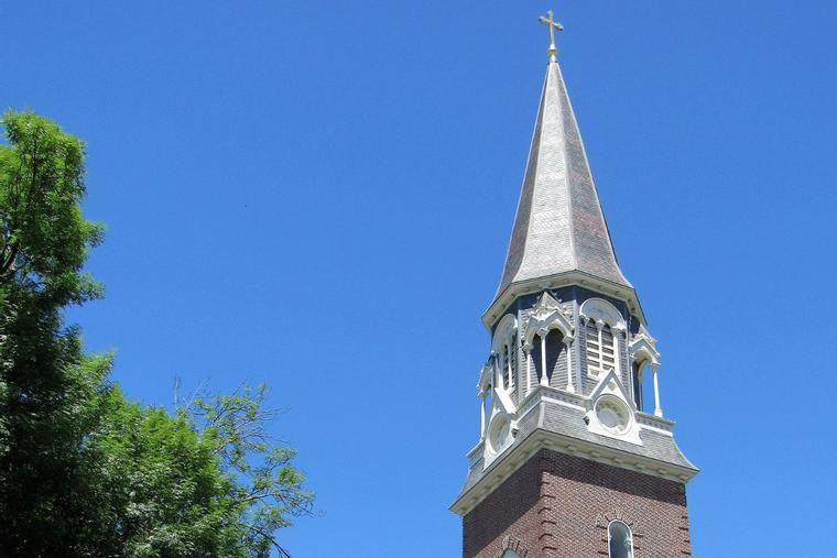 The spire of St. Michael's Cathedral is seen in Springfield, Massachusetts.