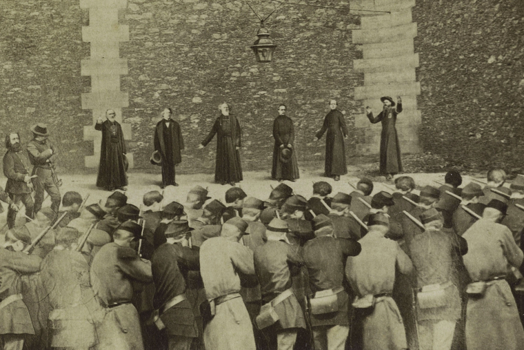 This photo montage depicts the execution of Paris Archbishop Georges Darboy and four other 'hostages of the Commune' at the Grande Roquette prison, May 24, 1871.