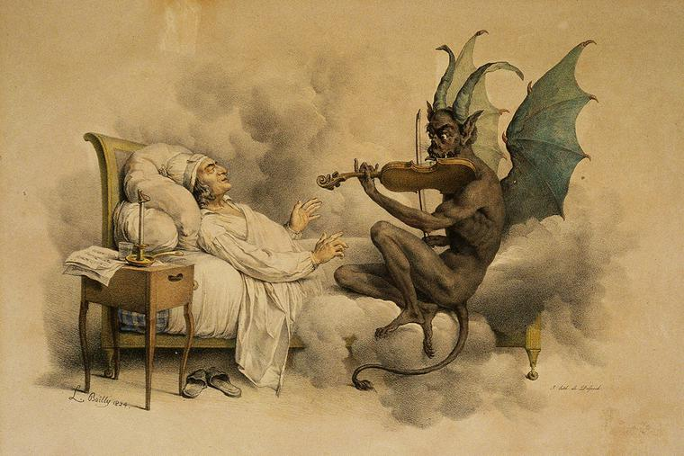 """""""Tartini's Dream"""" by Louis-Léopold Boilly (1761-1845). An illustration of the legend behind Giuseppe Tartini's """"Devil's Trill Sonata."""""""