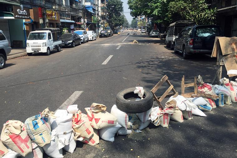 A roadblock in Burma following the February coup
