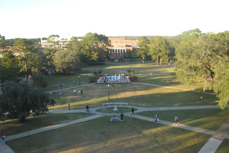 Landis Green is located in the center of the main campus of Florida State University.