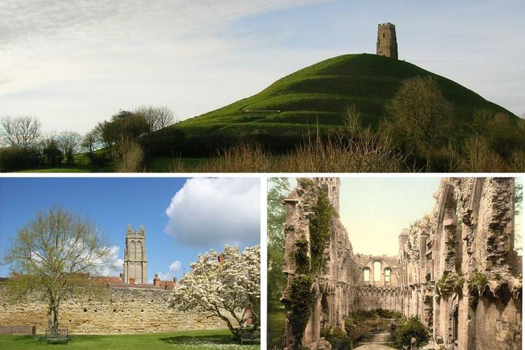During the Middles Ages, the shrine at Glastonbury attracted many pilgrims. Since the late 16th century, Glastonbury waned. The town's hill and the abbey's ruins are seen above in new and circa 1900 images.