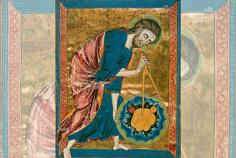"""Anonymous, """"God the Geometer,"""" ca. 1220"""