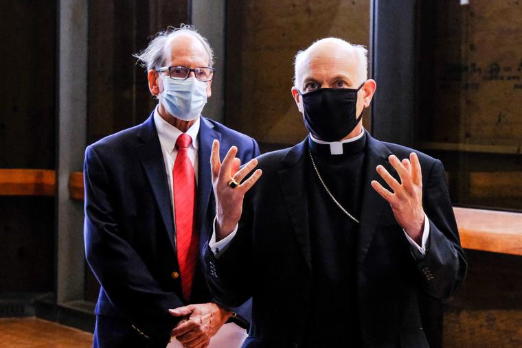 San Francisco Archbishop Salvatore Cordileone during a tour of St. Mary's Cathedral with Nikolaus Hohmann, Chairman of the SFCM Humanities Department at the SF conservatory of music.