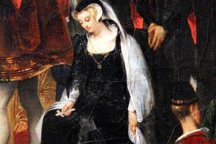 """Mary Queen of Scots holds her rosary in a detail from """"The Reading of Mary Stuart's Death Sentence,"""" painted in 1826 by Eugène Devéria."""