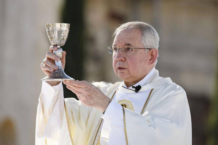 Archbishop José Gomez of Los Angeles, president of the U.S. Conference of Catholic Bishops, offers Mass at the San Gabriel Mission in San Gabriel, California, Dec. 6.