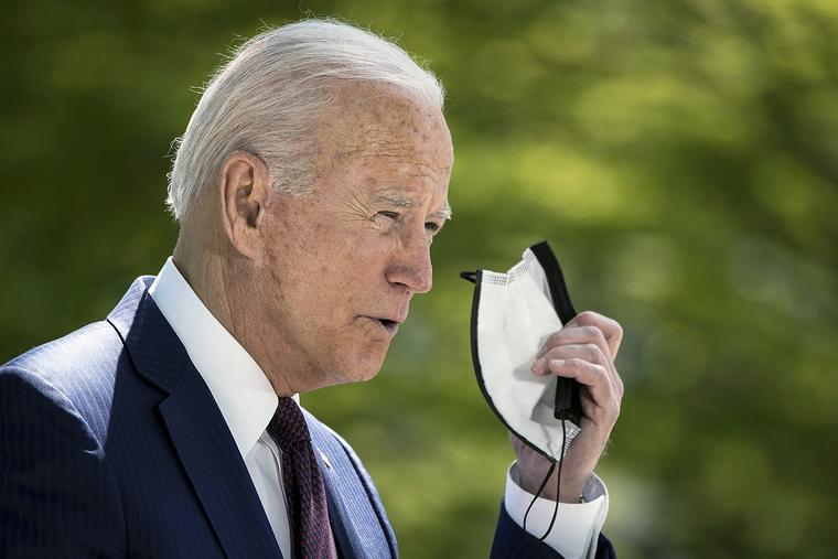 President Joe Biden speaks on the North Lawn of the White House on April 27 in Washington, DC.