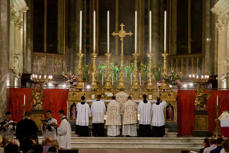 A Mass in the Extraordinary Form celebrated in the basilica of Santa Maria sopra Minerva in Rome, Sept. 15, 2017.