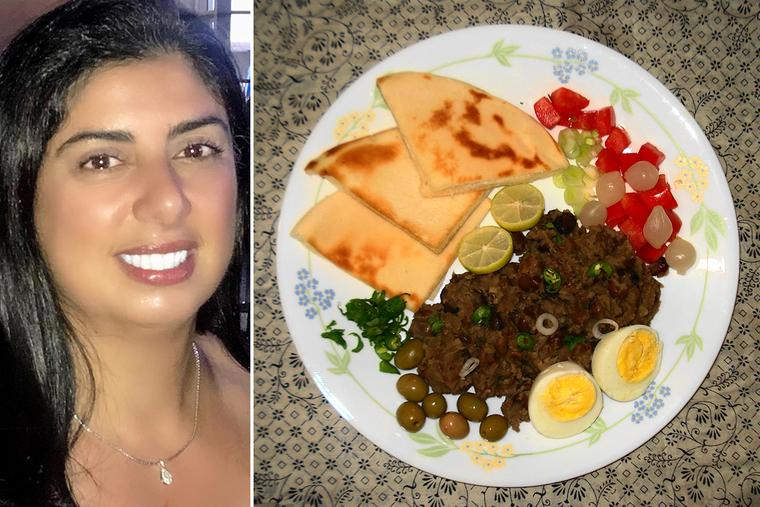 Grace Abi-Najm Shea (left) and a Lebanese breakfast plate featuring 'fūl medames'