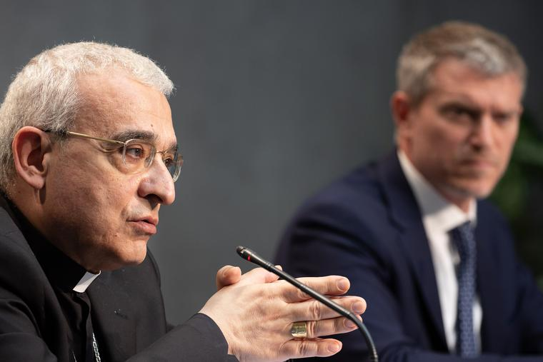 Archbishop Filippo Iannone, president of the Pontifical Council for Legislative Texts, speaks during a Vatican press conference June 1, 2021.