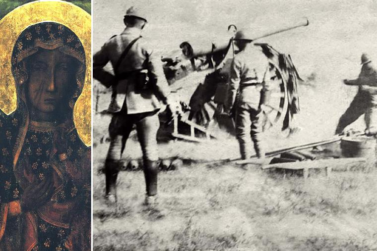 LEFT: The Black Madonna of Czestochowa. RIGHT: A Polish 120 mm battery during the Battle of Warsaw in 1920.