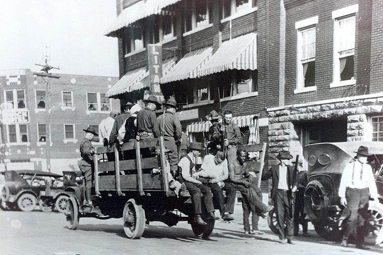 National Guard with the wounded after the Tulsa Race Massacre.