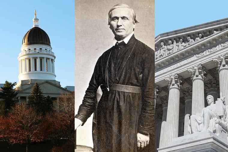 The dome of the Maine State House (left), Father John Bapst in 1863 (center) and the U.S. Supreme Court Building