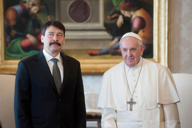 Pope Francis meets President of Hungary Janos Ader during an audience at the Apostolic Palace on February 14, 2020 in Vatican City, Vatican.