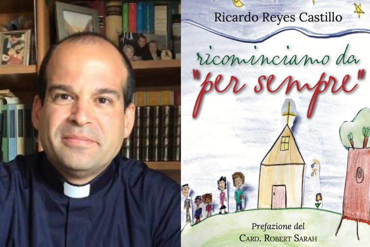 Father Reyes Castillo alongside his new book on marriage.