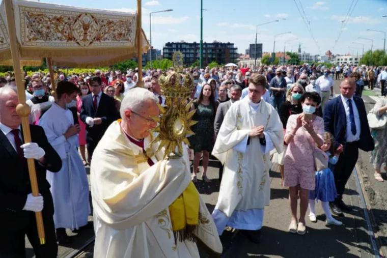 A Corpus Christi procession takes place in Poznań, Poland, June 3.