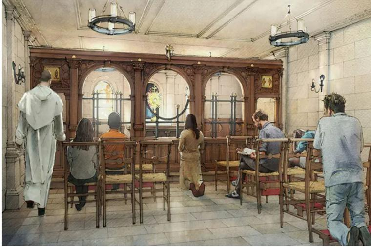 Shown above is an artist's rendering of the planned adoration chapel in Greenwich Village.