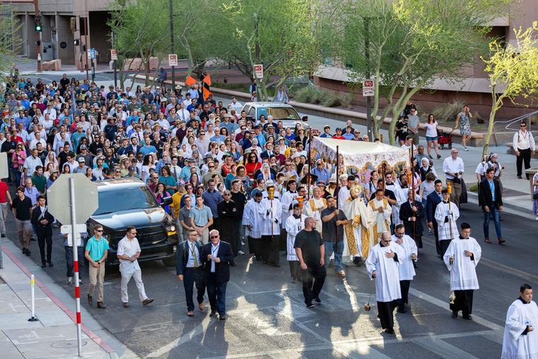 The Most Rev. Thomas J. Olmsted, bishop of the Diocese of Phoenix, led the Eucharistic procession on Corpus Christi Sunday, June 6, through the streets of downtown Phoenix. The Eucharistic procession, in combination with the recent release of Bishop Olmsted's apostolic exhortation 'Veneremur Cernui,' continues the celebration of the Year of St. Joseph.