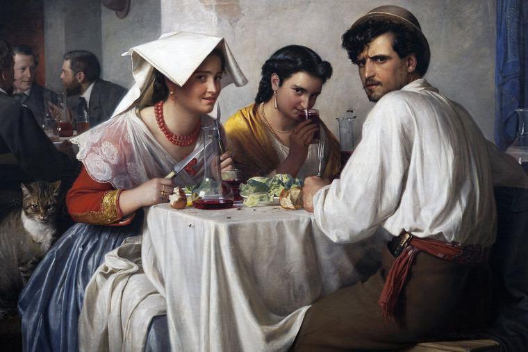 """Carl Bloch, """"In a Roman Osteria,"""" 1866"""