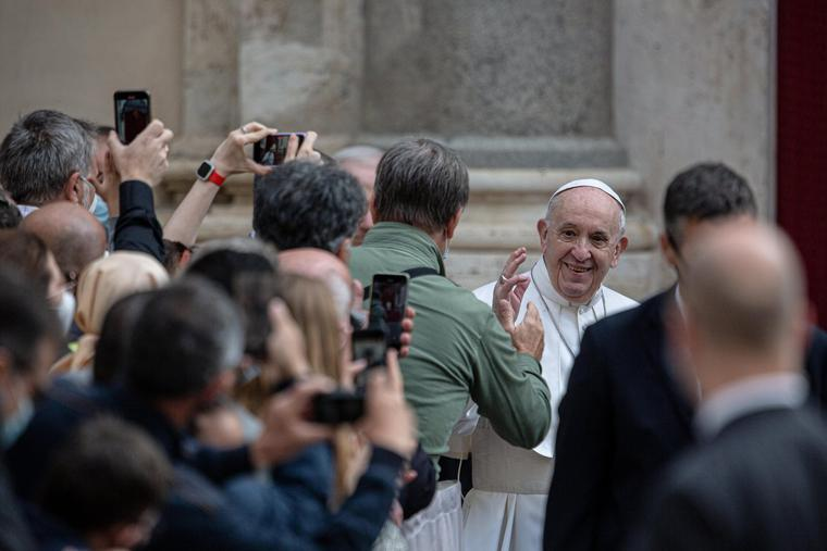 Pope Francis' general audience in the San Damaso Courtyard of the Apostolic Palace, June 9, 2021.