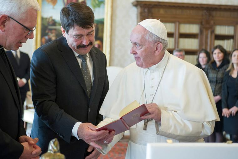 Pope Francis exchanges gifts with  President of Hungary Janos Ader during an audience at the Apostolic Palace on February 14, 2020 in Vatican City.