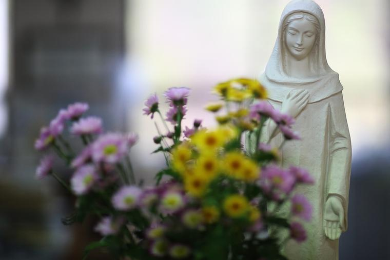 Blessed Virgin Mary With Flowers