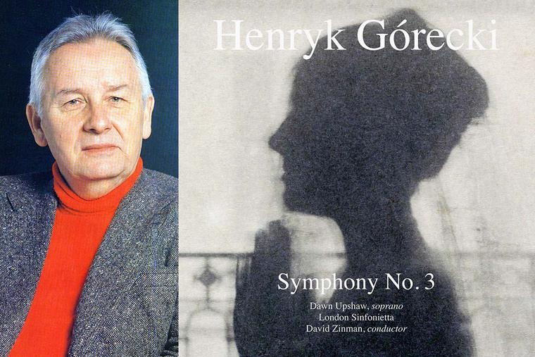 Henryk Górecki in 1993 (left) and the Elektra-Nonesuch album cover from his Symphony No. 3