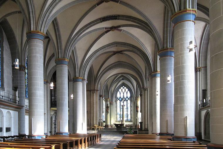 Main nave inside Essen Cathedral, Germany.
