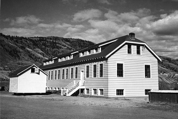 New classroom building of Kamloops Indian Residential School, Kamloops, British Columbia, circa 1950.
