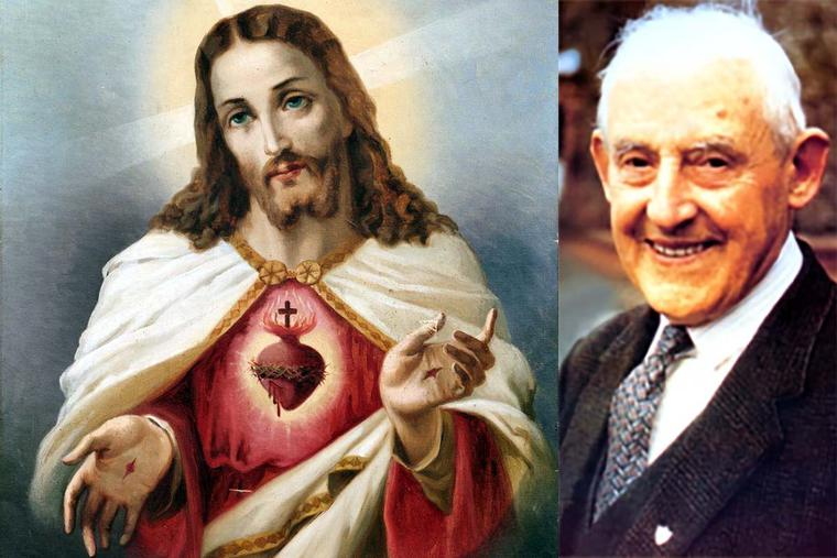 19th-century image of the Sacred Heart of Jesus (left) and Servant of God Frank Duff