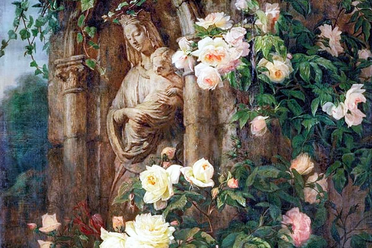 Detail of 'Our Lady of the Roses,' by Simon Saint-Jean (1850).