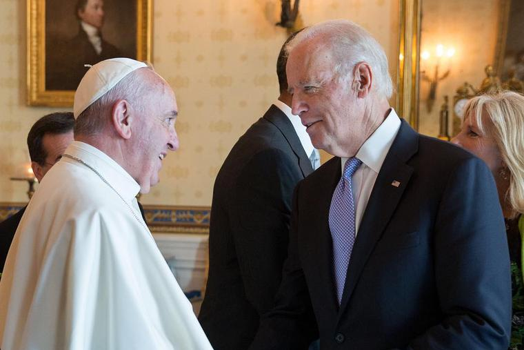Pope Francis and Joe Biden at the White House on September 23, 2015.