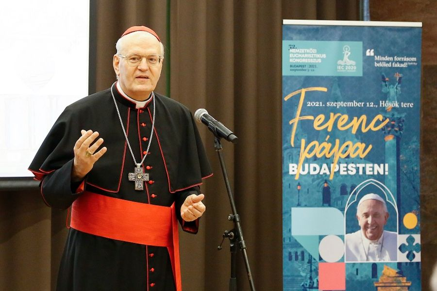 Cardinal Péter Erdő at a press conference for the International Eucharistic Congress in Budapest, June 14, 2021.