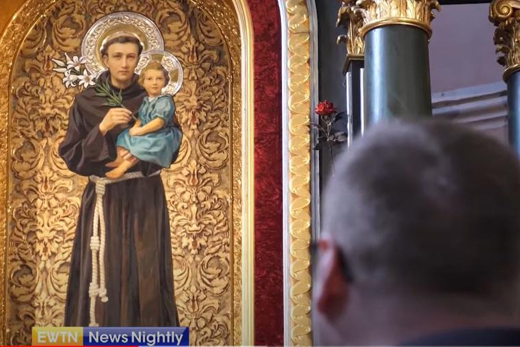 A portrait of St. Anthony hangs in the Shrine of St. Anthony in Radecznica, Poland.