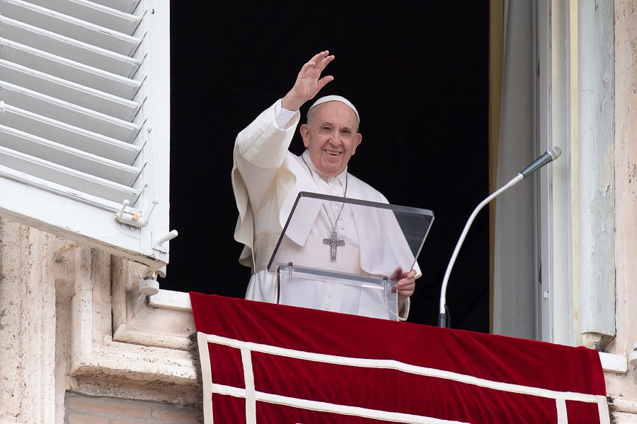 Pope Francis gives the Angelus address, June 6, 2021.