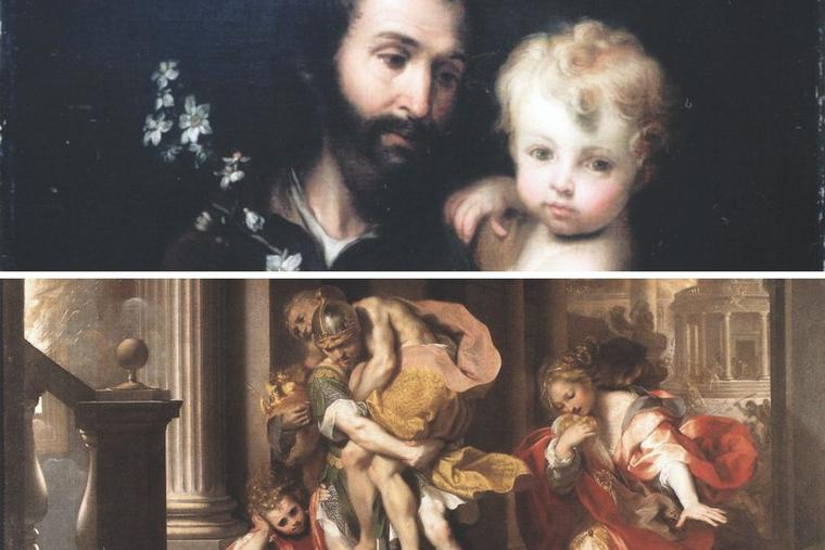 St. Joseph is shown with the Child Jesus, in art by Bartolomé Esteban Murillo, as Aeneas flees burning Troy, as depicted by Federico Barocci, in the Galleria Borghese in Rome.