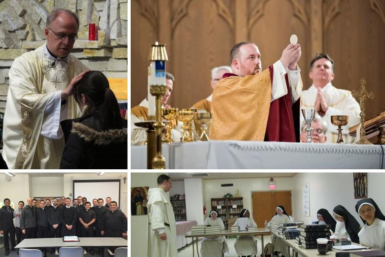 Clockwise from top left: Father James Livingston blesses a parishioner on the feast of St. Blaise. Father Christopher Ford offers his June 2, 2019, thanksgiving Mass at St. Francis of Assisi Church in Naugatuck, Connecticut. Father Andrew Hofer teaches contemplative nuns from different cloistered monasteries as part of the Monastic Theological Studies program at the Dominican Monastery of Our Lady of the Rosary in Summit, N.J. And Father Dennis Billy smiles with his students when he was teaching at St. Charles Seminary in 2016.